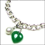 "Jade Heart and Pearl Link Silver Bracelet with Clasp 7"" - 7.5"""