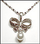 Marcasite Bow-Tie Necklace with Pearlesque