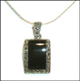 Shield Black Onyx Marcasite Silver Necklace
