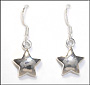 Polished Star  Dangle Silver Earrings