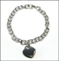 "Heart Charm Tag  Link Silver Bracelet with Clasp 7"" - 7.5"""