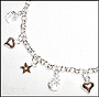 Heart  Star and Moon Charm Silver Bracelet