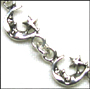 Man in the Moon Link Charm Sterling Silver Bracelet 7""