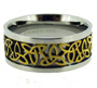 Stainless Steel Celtic Ring with Gold Tone Woven Center Size 12, 13, 14, 15, 16, 17