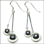 Sterling Silver Duo Ball Dangle Earrings