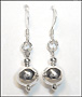 Polished  Ball Bead Drop Silver Earrings