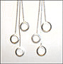 Triple Hanging Circle Silver Earrings
