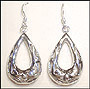Water Drop Cutout  Silver Hook Earrings