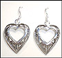 Heart Shape Cutout Silver Earrings