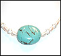 Turquoise Pendent in Pearl Strand Necklace
