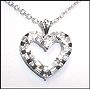 Heart Pendant Silver Necklace with Baguette Stone