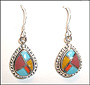 Turquoise Dangle Water Drop Silver Earrings from Nepal