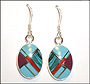 Turquoise Dangle Oval Silver Earrings from Nepal