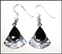 Water Drop Black Onyx Silver Hook Earrings in Silver