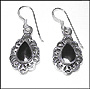 Water Drop Black Onyx Dangle Earrings in Silver