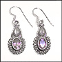 Hook Earrings with Genuine Amethyst in Silver