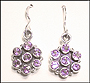 Amethyst Flower Hook Earrings in Silver