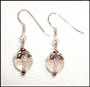 Faceted Round Rose Quartz Dangle Earrings in Silver