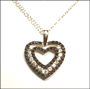 Black and White Sterling Silver Heart Necklace