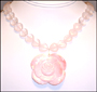 Heart Rose Quartz Necklace with Mother of Pearl Flower Pendant