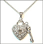 "Double Sided Sterling Silver Heart  Lock and Key Necklace 16"" or 18"""