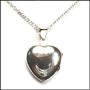 Polished Heart Locket Silver Necklace