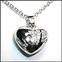 "Love Heart Pendant Silver Necklace 16"" or 18"""