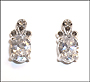 Oval CZ Earrings  in Marcasite Silver
