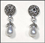 Marcasite Silver Earrings with Pearlesque Drop