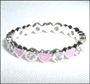 Pink Enamel Hearts with Clear CZ Ring