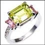 Peridot and Pink CZ Ring in Silver Size 8