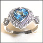 Heart Shaped Blue Topaz Ring on Silver
