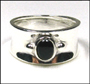Black Onyx Wide Band Silver Ring 7