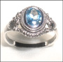 Blue Topaz Balinese Silver Ring Size 6, 7, 8