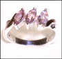Three-Stone Marquise Amethyst Silver Ring