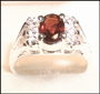 Genuine Garnet Silver Ring with CZ Accent II