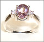 Amethyst Solitaire Ring with CZ Accents