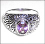 Balinese Ring with Genuine Amethyst Size 5, 6