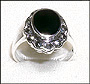 Silver Marcasite Ring with Oval Black Onyx