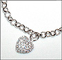 "Rolo Link Silver Bracelet  with CZ Heart Charm (7"" - 7.5"")"