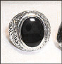 Men's Black Onyx Sterling Silver Scrolled Vine College Ring Size  7, 8, 9