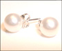Swarovski Cream Rose Pearl  Stud Earrings in Silver  (8 mm)