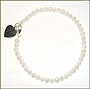 Pearl Anklet with Silver Heart Charm (Plus Size)