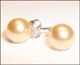 Swarovski Gold Pearl Stud Earrings in Silver  (8 mm)