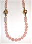 "Rose Quartz Opera Necklace with Cloisonne Balls (Plus Size 32"")"