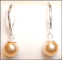 Swarovski Gold  Pearl  Leverback Earrings in Silver (8 mm)