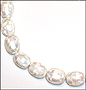 "White Mother of Pearl Large Patched Bead Necklace (Plus Size 18"")"