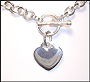 Heart Charm Toggle Silver Necklace Bracelet Set (Regular)