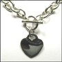 Heart Charm Toggle Link Silver Necklace Bracelet Set (Heavy)