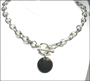 "Disc Charm Tag Toggle Sterling Silver Link Necklace (Heavy 18"")"